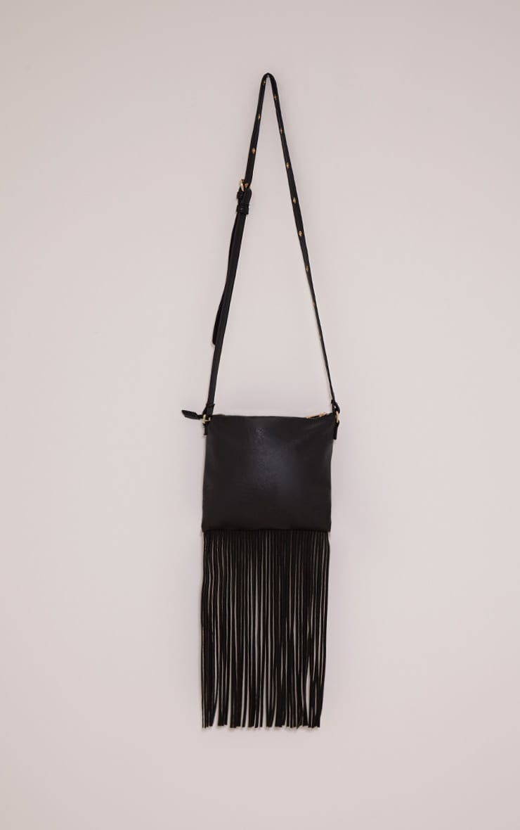 Bassie Black Faux Leather Fringe Bag 3