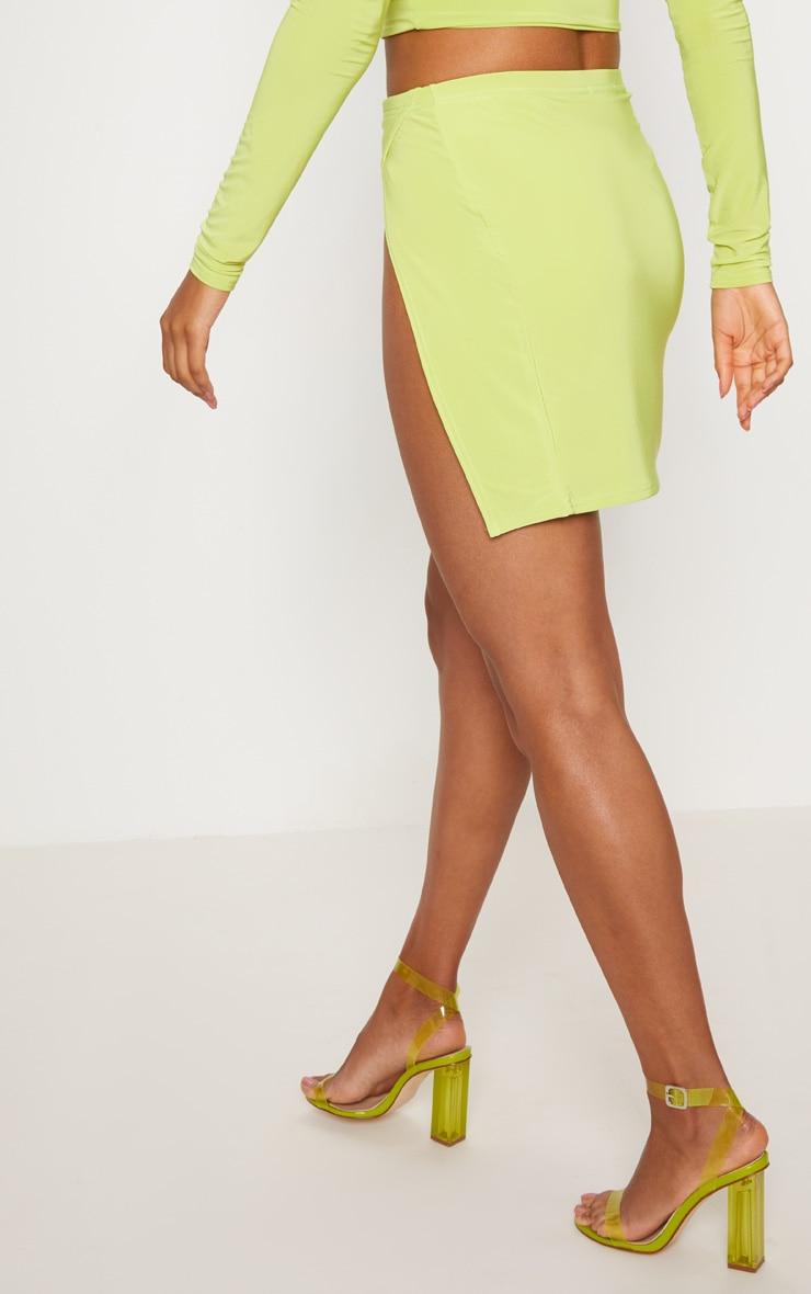 Lime Slinky Split Front Mini Skirt 4