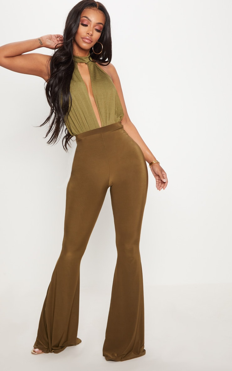 Shape Khaki Slinky High Neck Cut Out Bodysuit 5