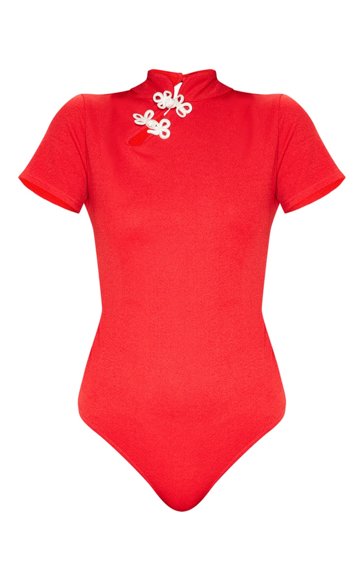Red Oriental Trim Short Sleeve Bodysuit 3