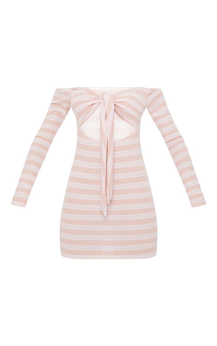 Pink Stripe Print Ribbed Bardot Tie Front Bodycon Dress 2
