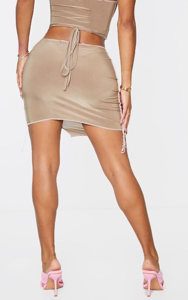 Shape Soft Brown Slinky Overlock Ring Detail Bodycon Skirt 3