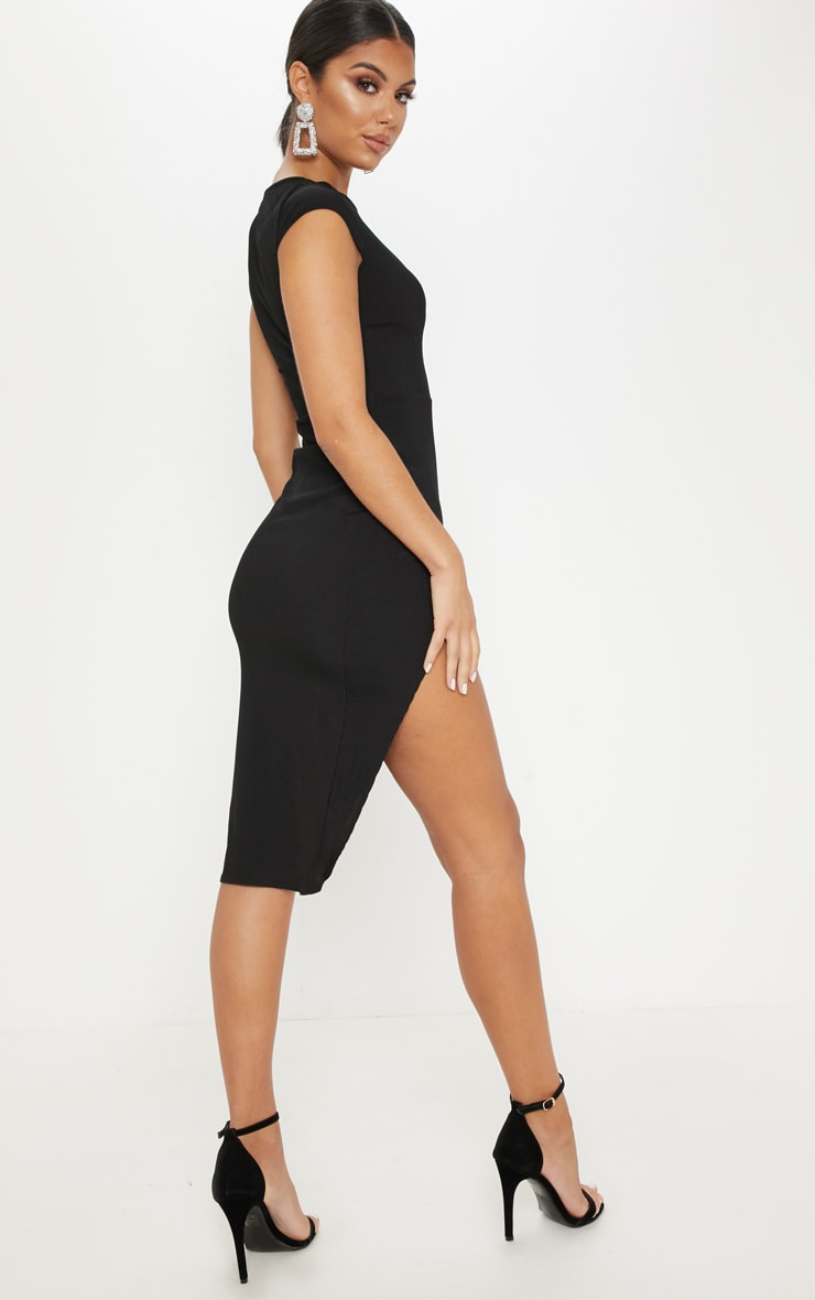 Ribbed Black Extreme Split Cap Sleeve Midi Dress 2