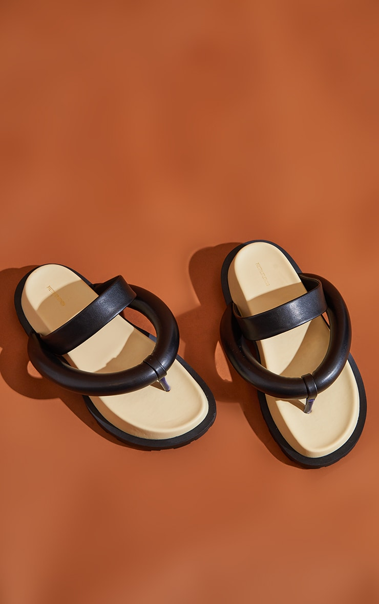 Black Chunky Toe Thong Padded Strap Sandals 3