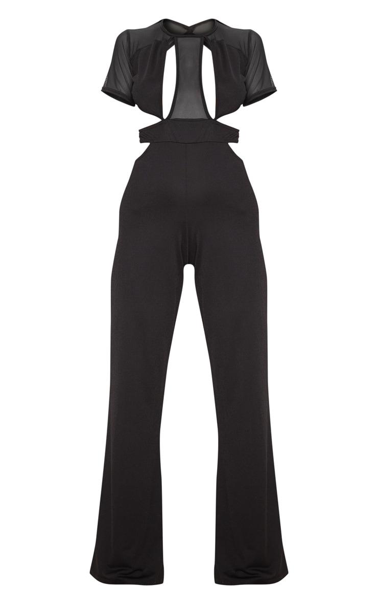 Black Mesh Short Sleeve Cut Out Jumpsuit 3