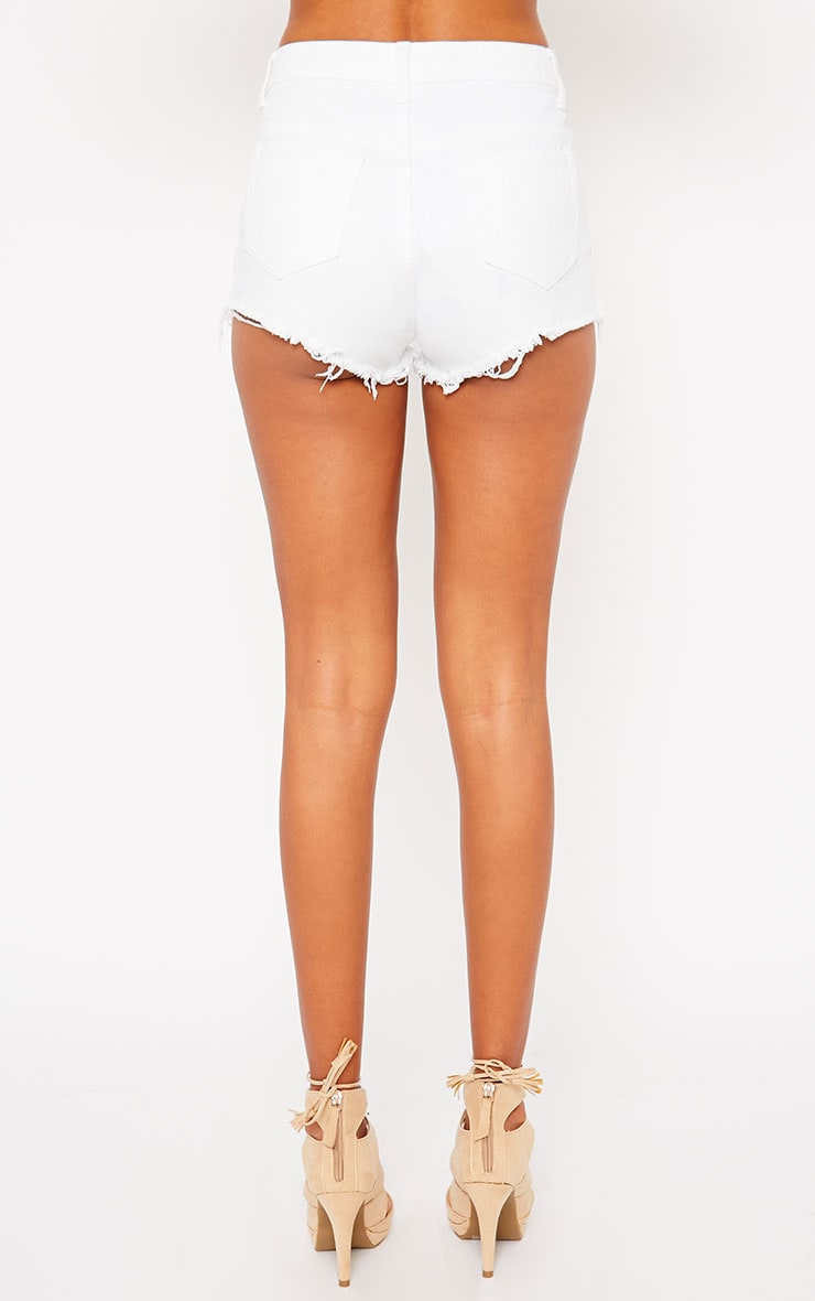 Lor White Frayed Denim Shorts 4