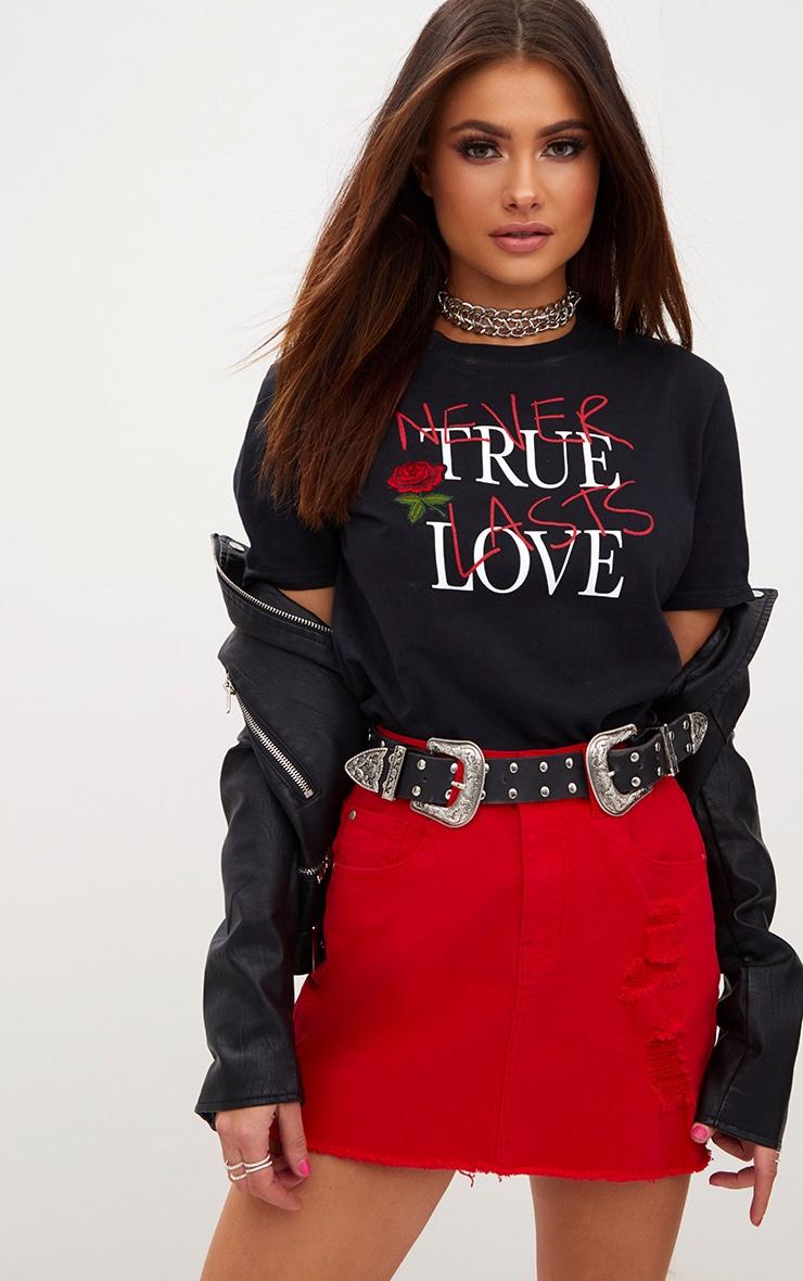 Black True Love Applique Slogan T Shirt 1