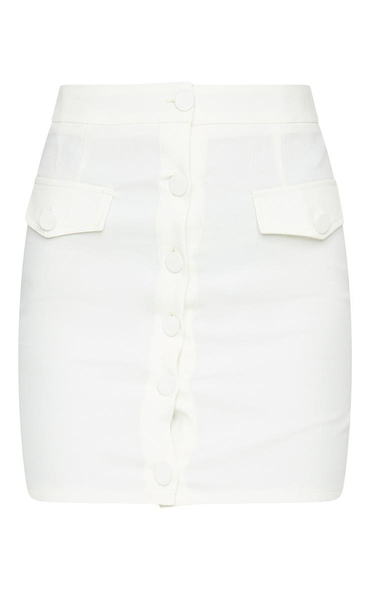 Cream Button Front Pocket Detail Mini Skirt 6