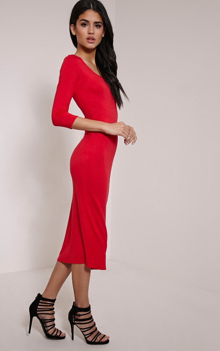 Basic Red Long Sleeve Midi Dress 3