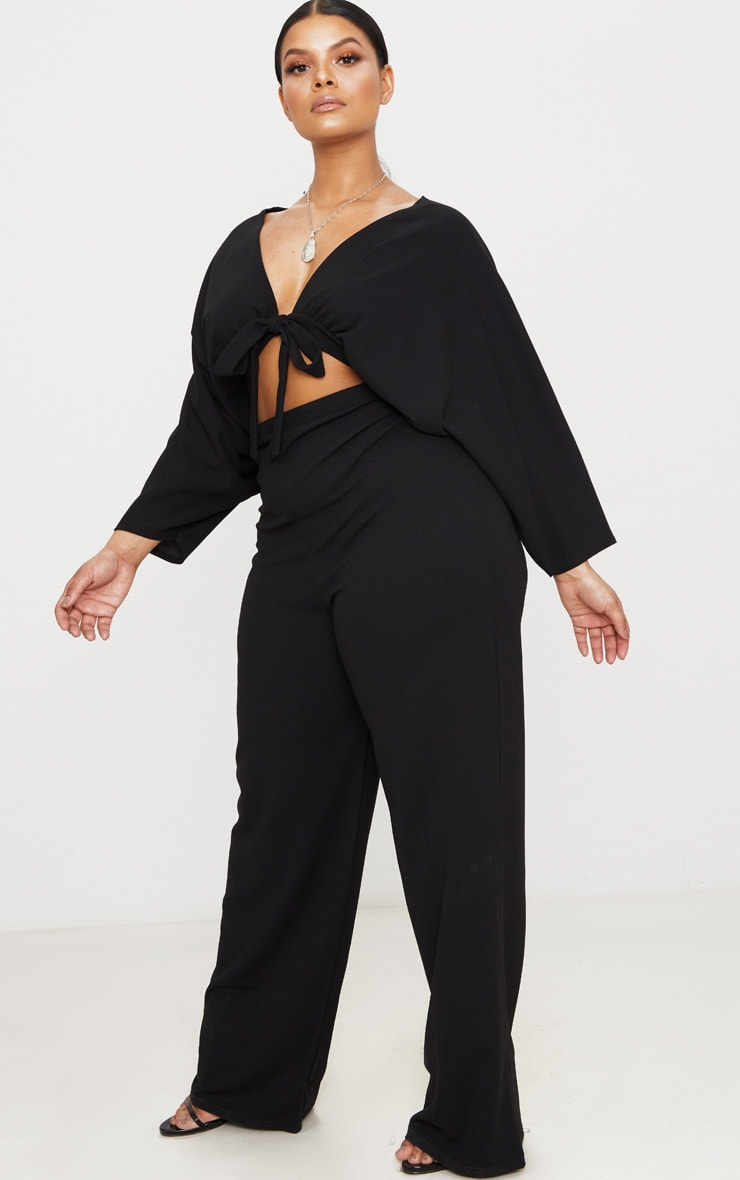 Plus Black Crepe Batwing Cut Out Jumpsuit 3