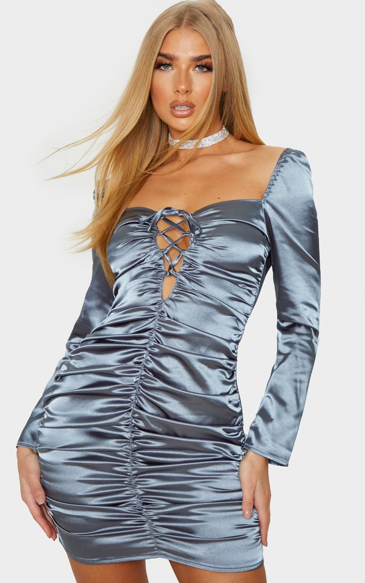 Charcoal Blue Satin Ruched Lace Up Detail Bodycon Dress 1