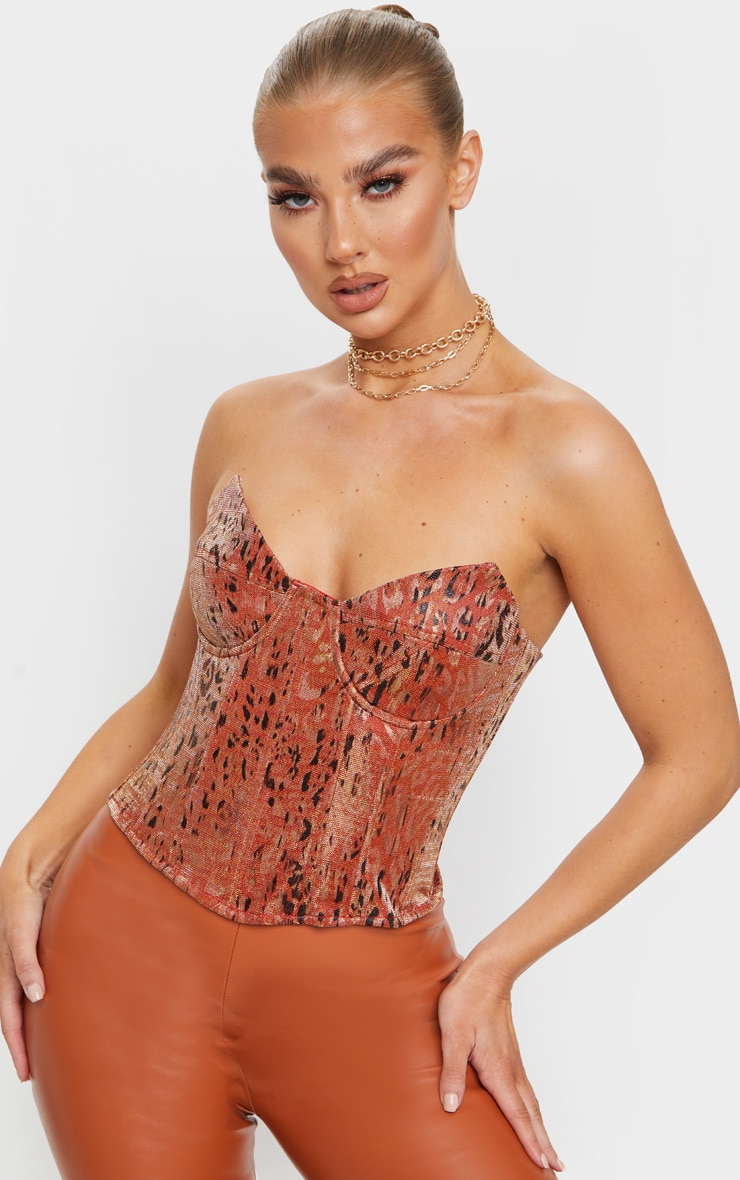 Orange Woven Metallic Leopard Print Pointed Edge Corset Top 1