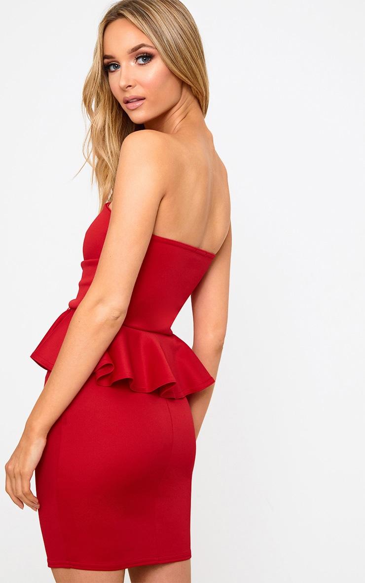 Red Corset Detail Peplum Bodycon Dress 2