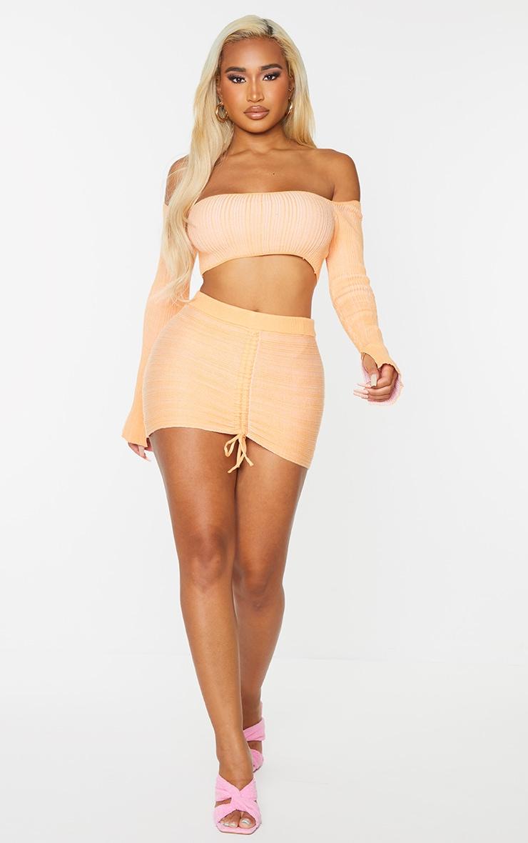 Shape Peach Contrast Knit Bardot Crop Top 3