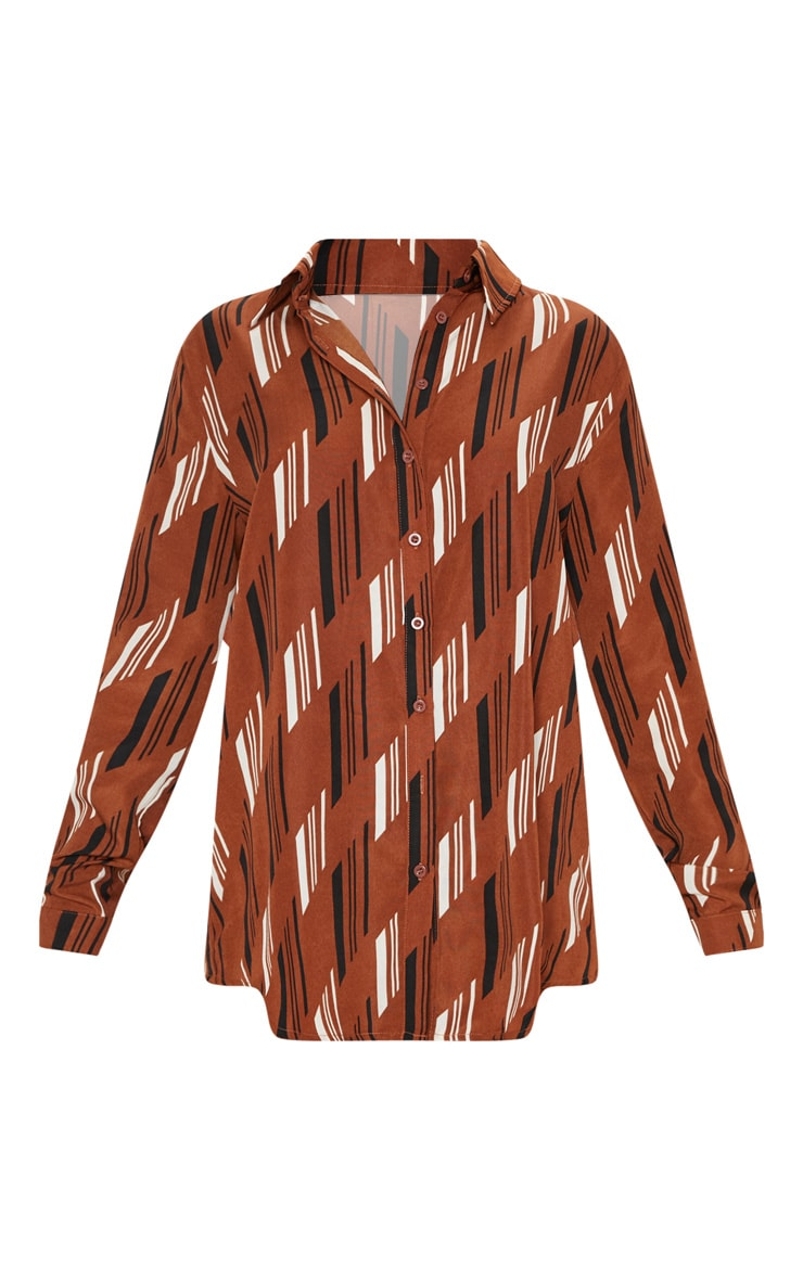 Brown Printed Oversized Shirt 3