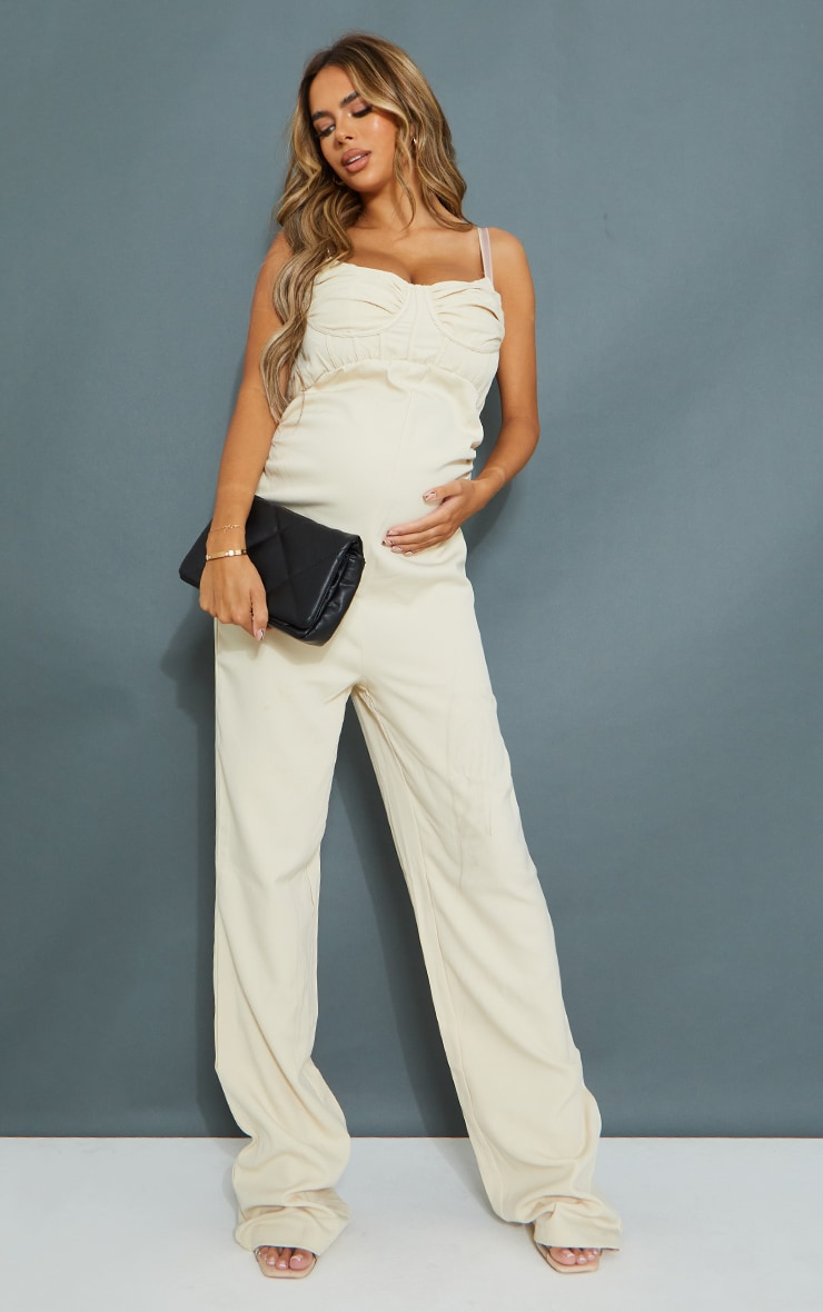 Maternity Stone Tailored Strappy Jumpsuit 1