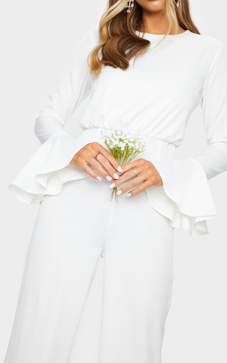 White Frill Sleeve Wide Leg Jumpsuit 4