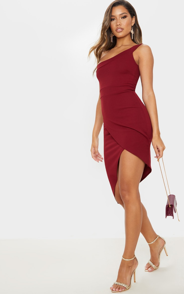 Burgundy One Shoulder Wrap Skirt Midi Dress 3