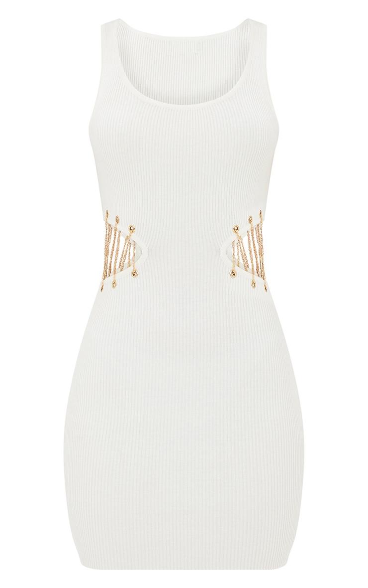 White Chain Detail Knitted Mini Dress 3