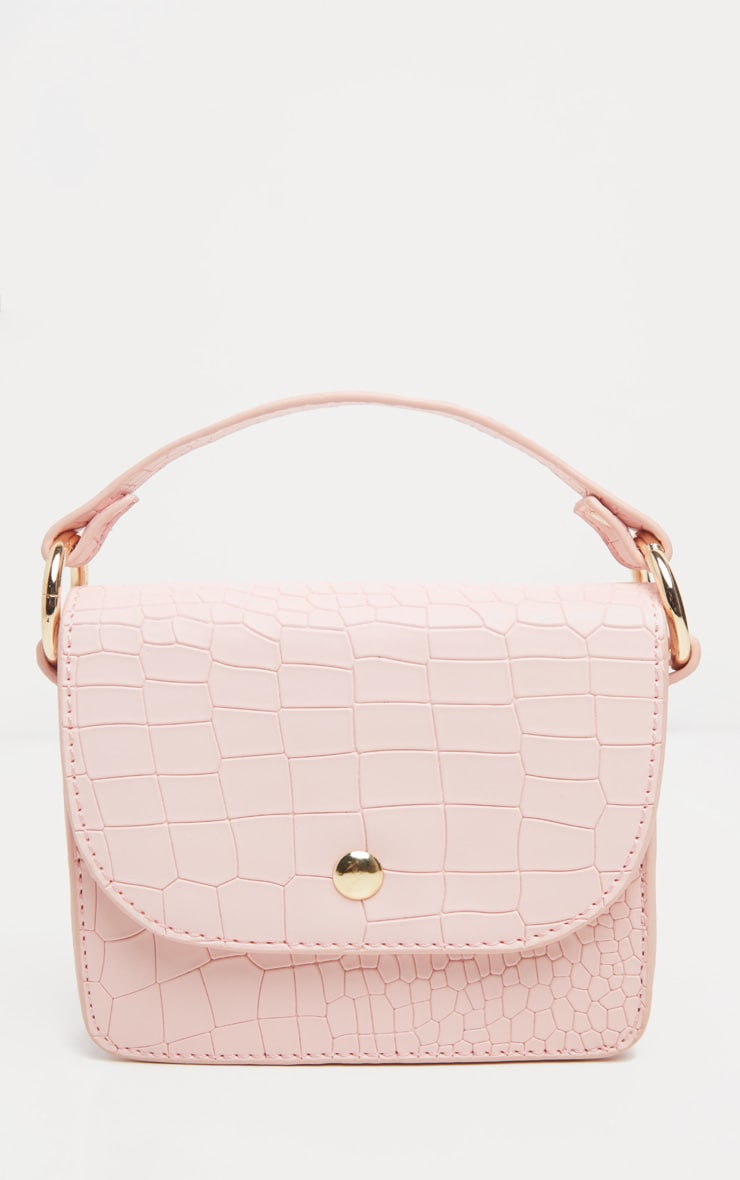 Pale Pink Croc Square Mini Bag 1