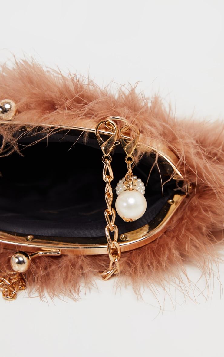 Chestnut Marabou Feather Cross Body Bag 3