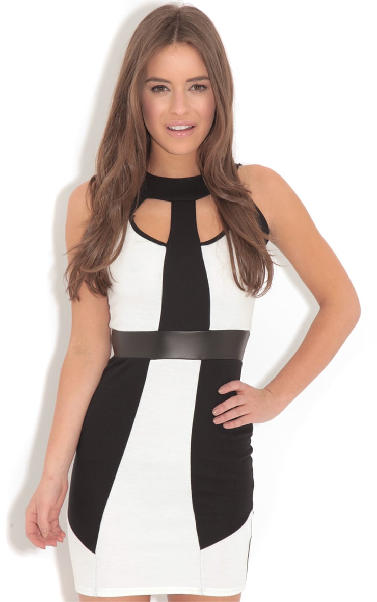 Amber Monochrome Bodycon Midi Dress-L 1