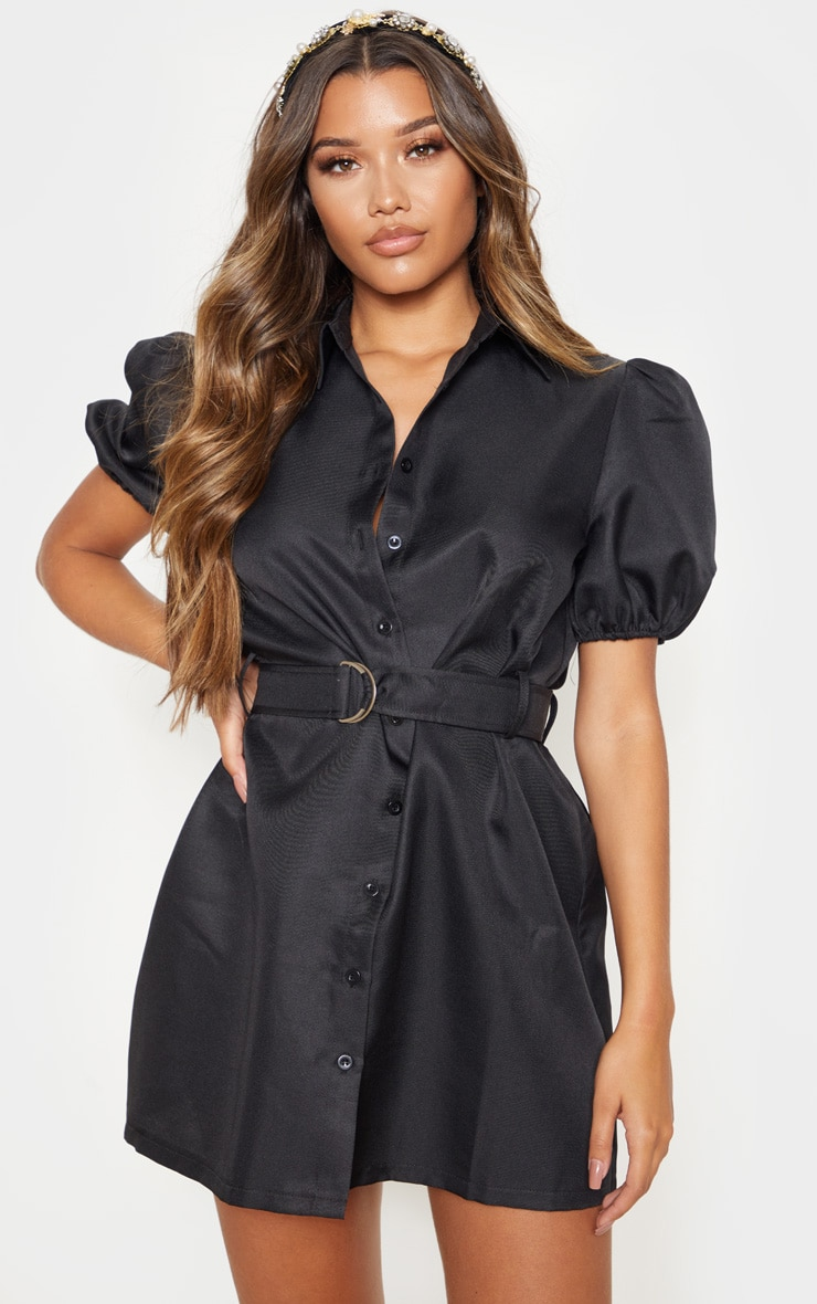 Black Puff Sleeve Belted Shirt Dress 4