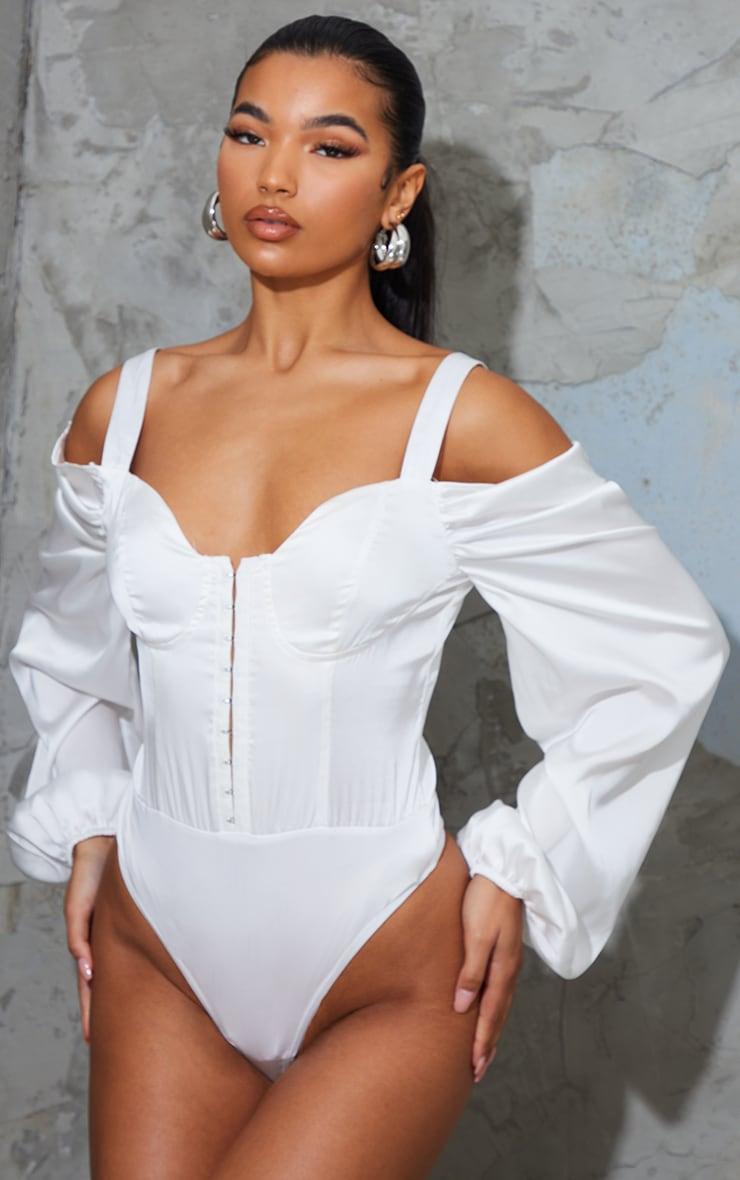 White Satin Cold Shoulder Long Sleeve Bodysuit 2