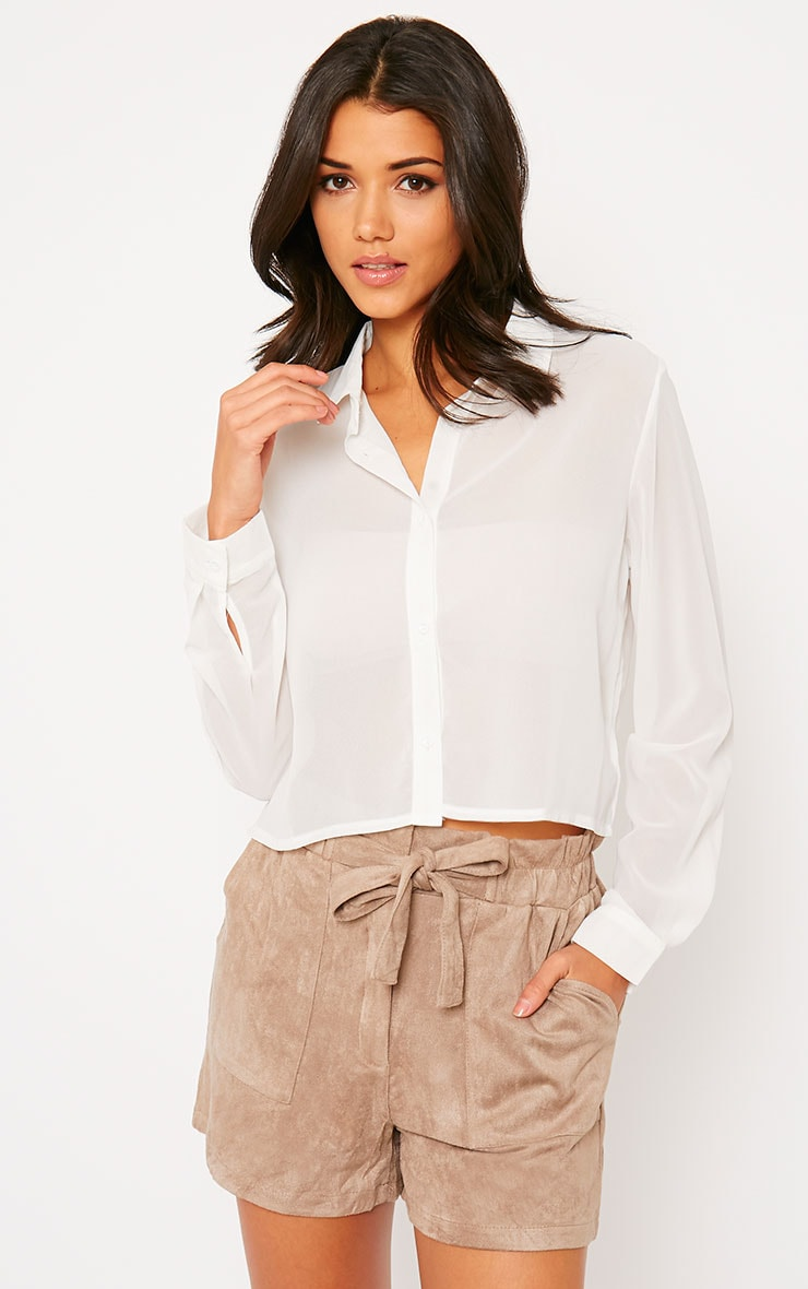 Libby White Cropped Shirt 1