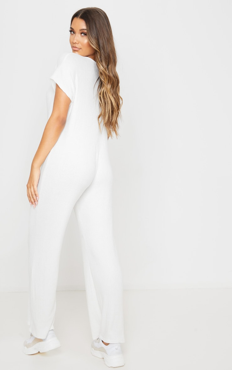 Cream Brushed Rib Button Short Sleeve Jumpsuit 2