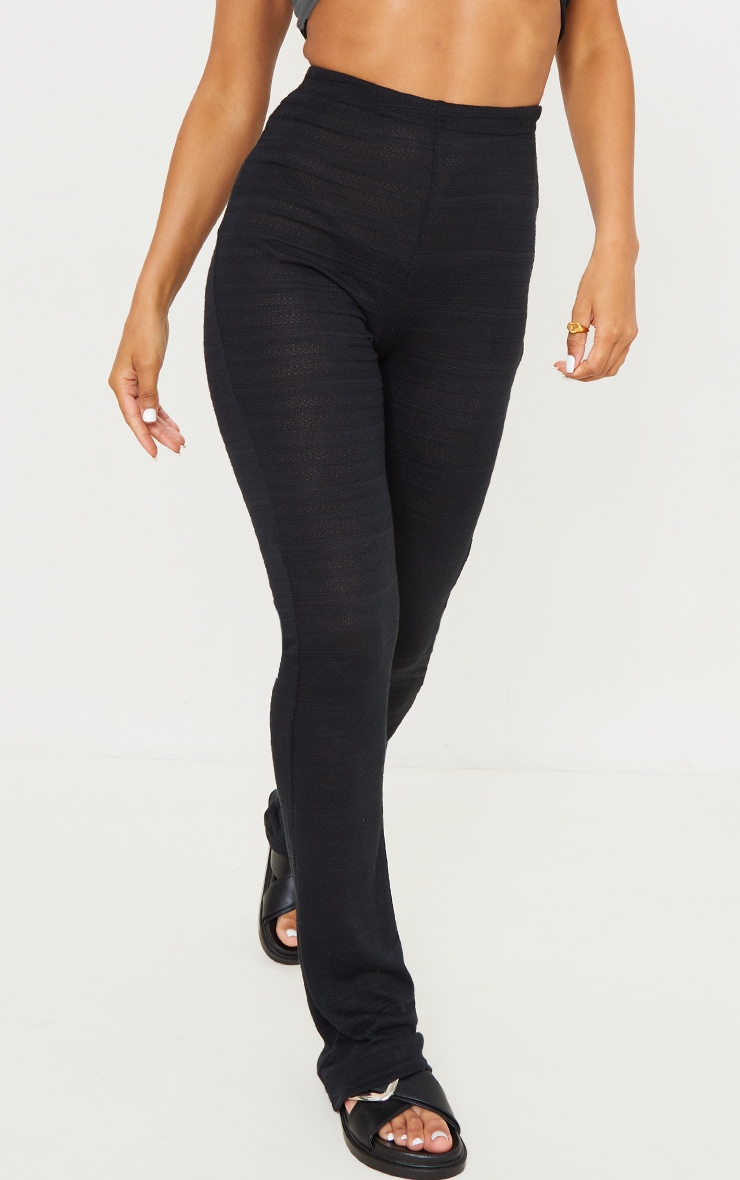 Black Textured Skinny Flared Pants 2