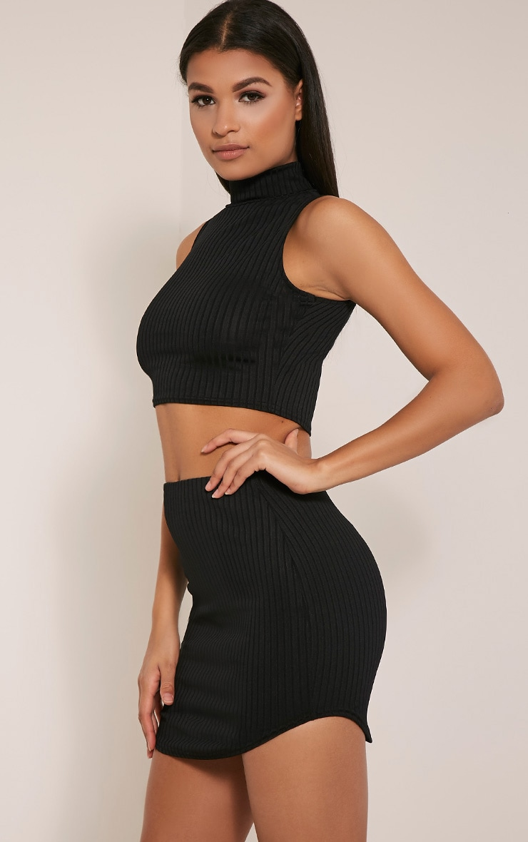 Ariana Black Ribbed Curve Hem Mini Skirt 1