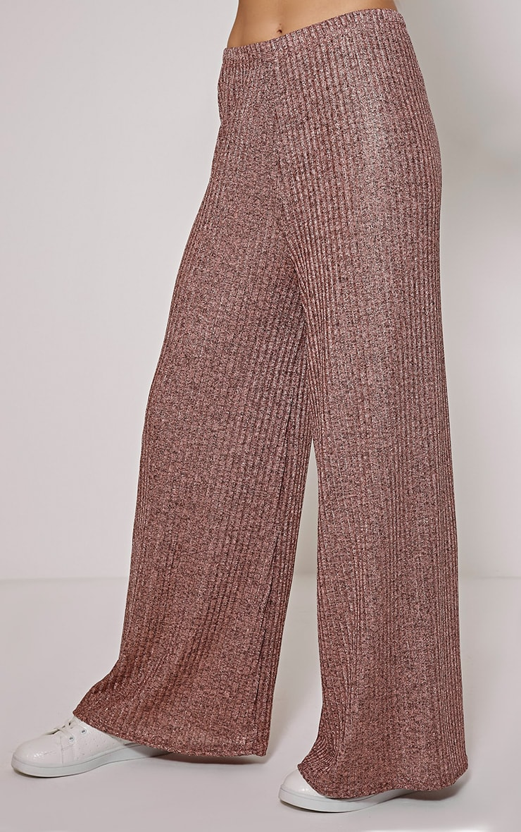 Nora Bronze Metallic Rib Flared Trousers 4