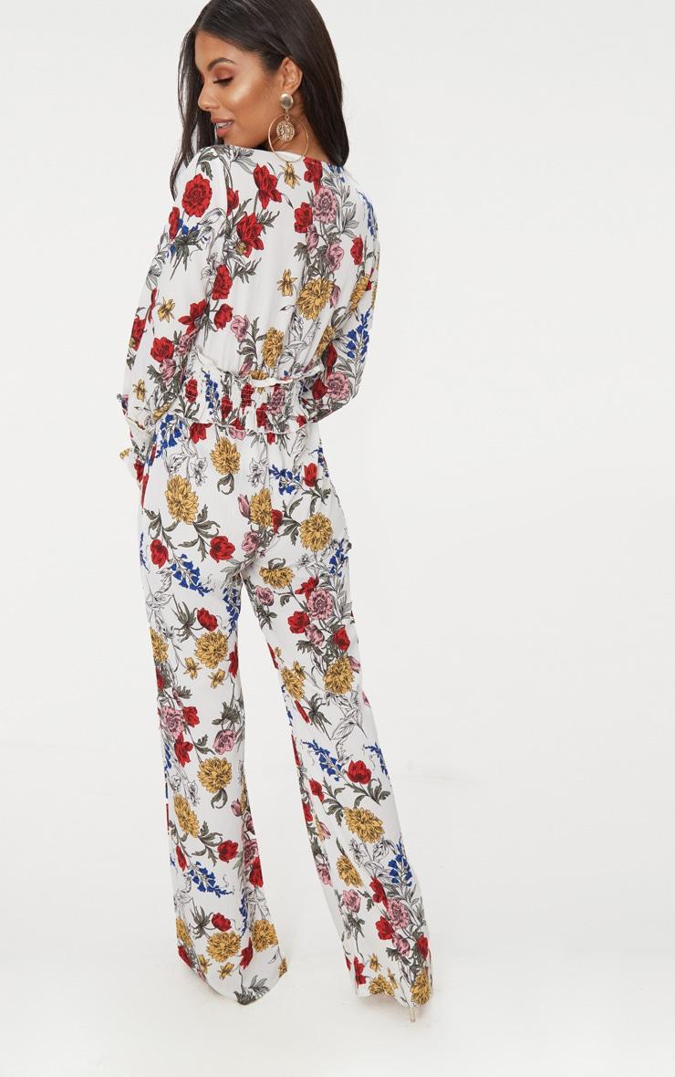 White Floral Shirring Waist Detail Jumpsuit 2