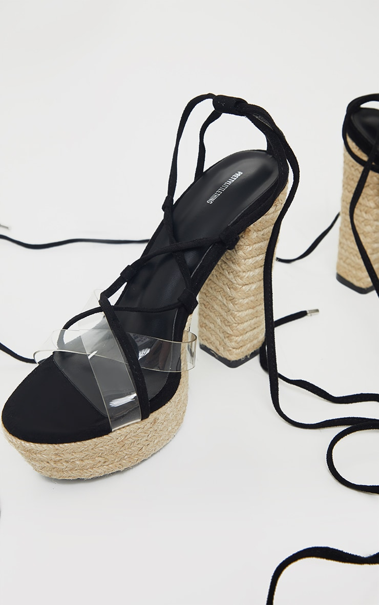 Black Espadrille Platform Ghillie Lace Up Sandal 4