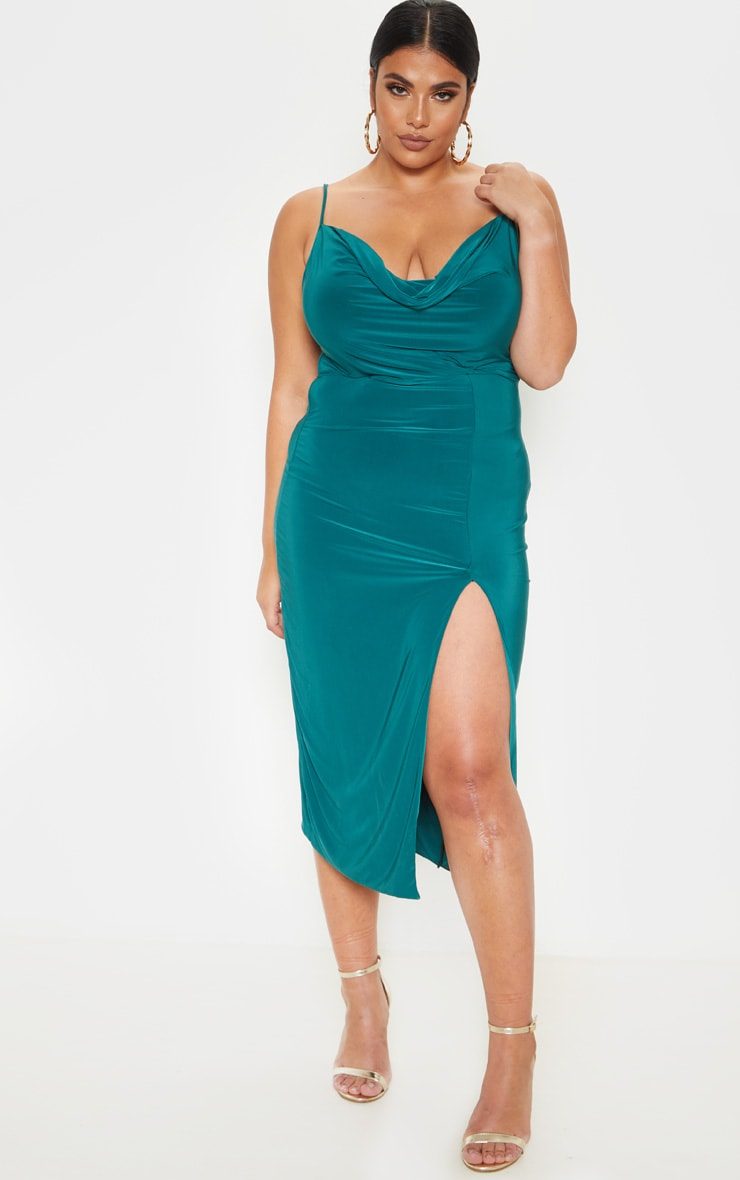 Plus Jasper Green Extreme Split Midi Dress 1