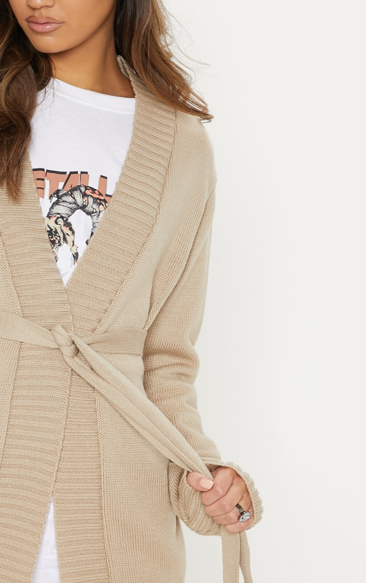 Stone  Belted Knitted Cardigan 5
