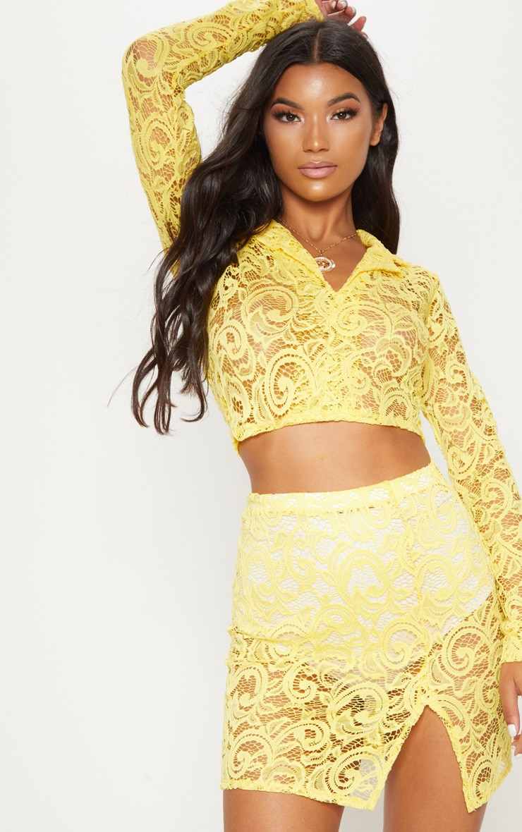 Yellow Lace Mini Skirt With Split 1