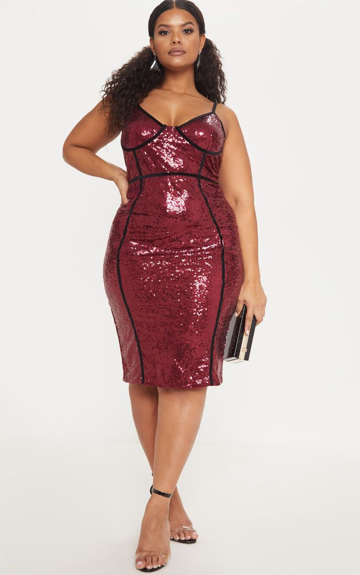 Plus Burgundy Sequin Binding Midi Dress