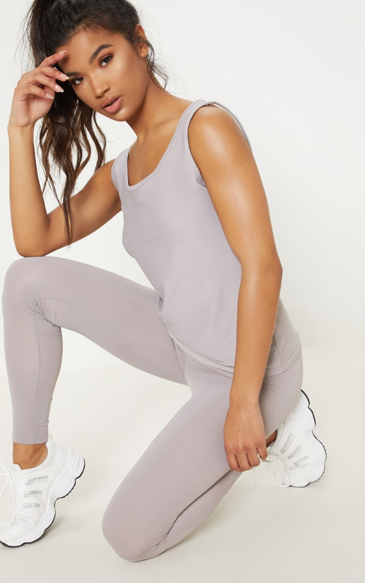 Grey Basic Mesh Back Gym Vest 4