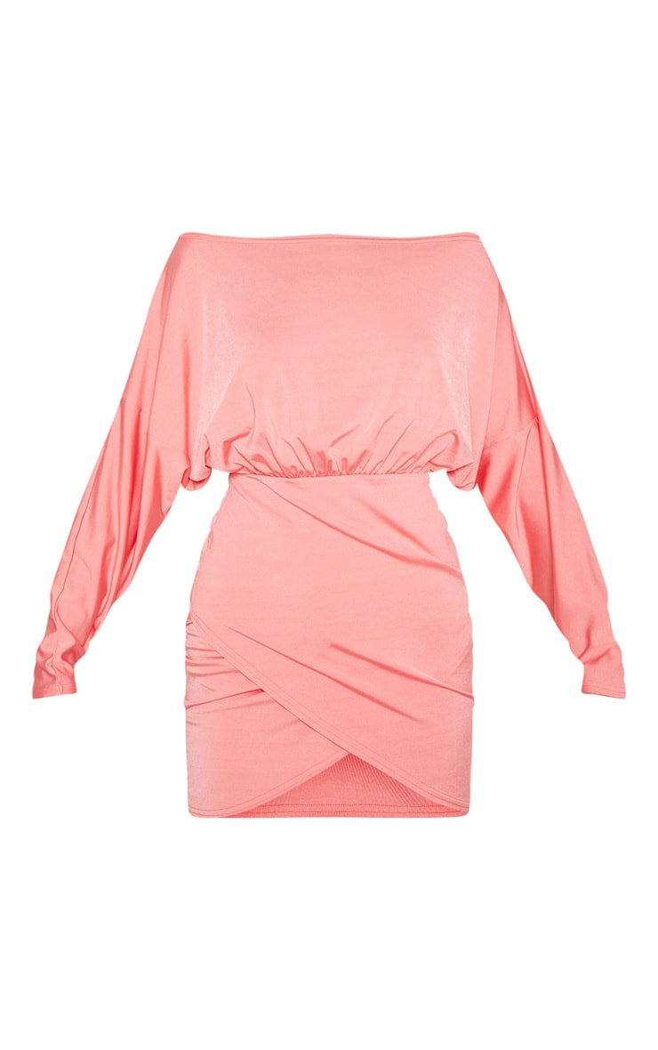 Coral Disco Slinky Batwing Wrap Over Bodycon Dress 3