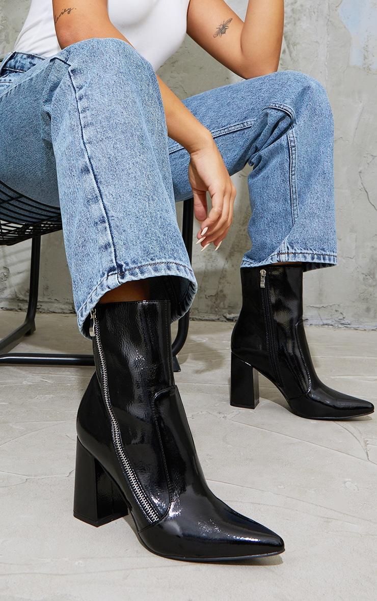 Black Side Zip Mid Point Toe Block Heel Ankle Boots 1