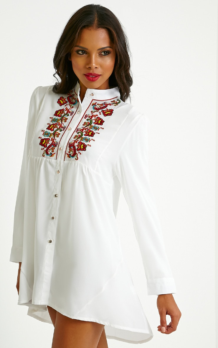 Melania White Embroidered Sheer Shirt Dress 4
