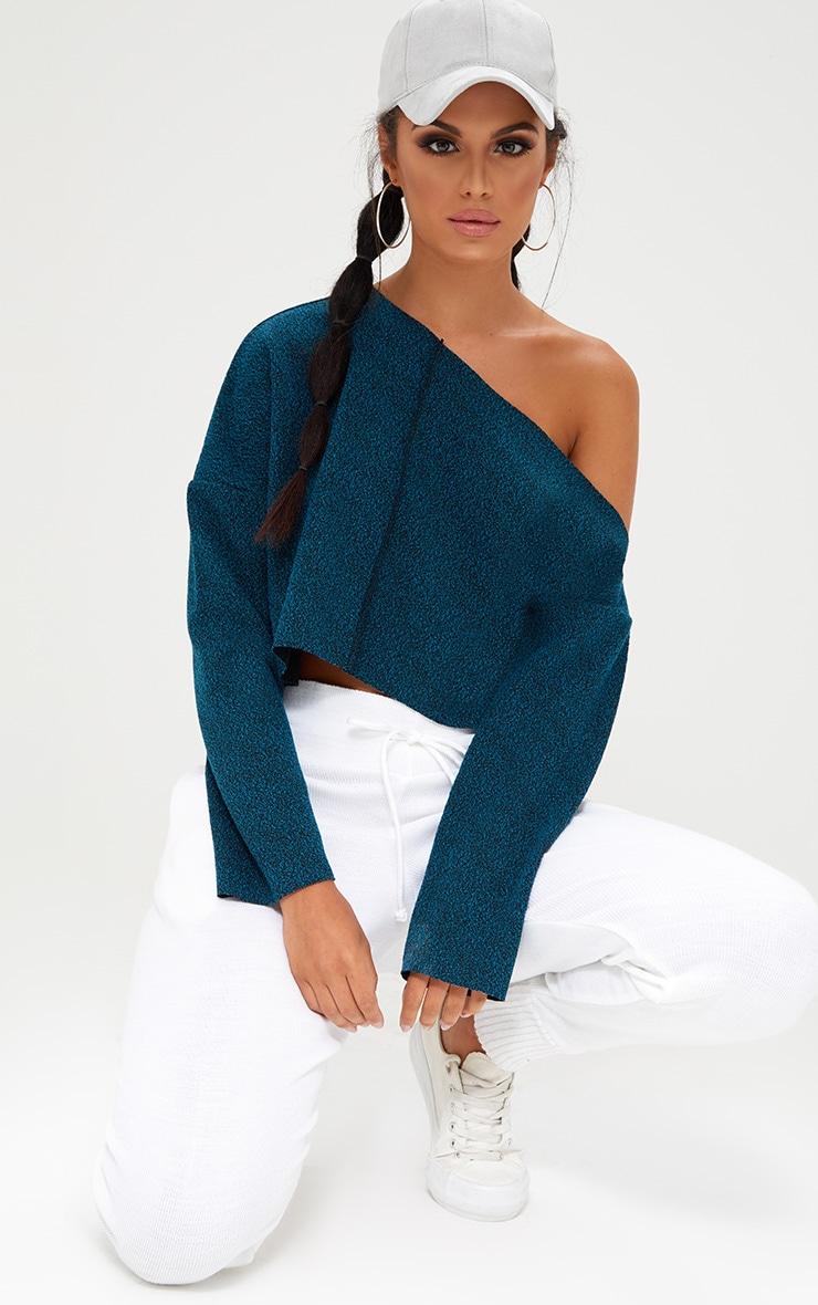 Navy Marl Off Shoulder Sweater 1