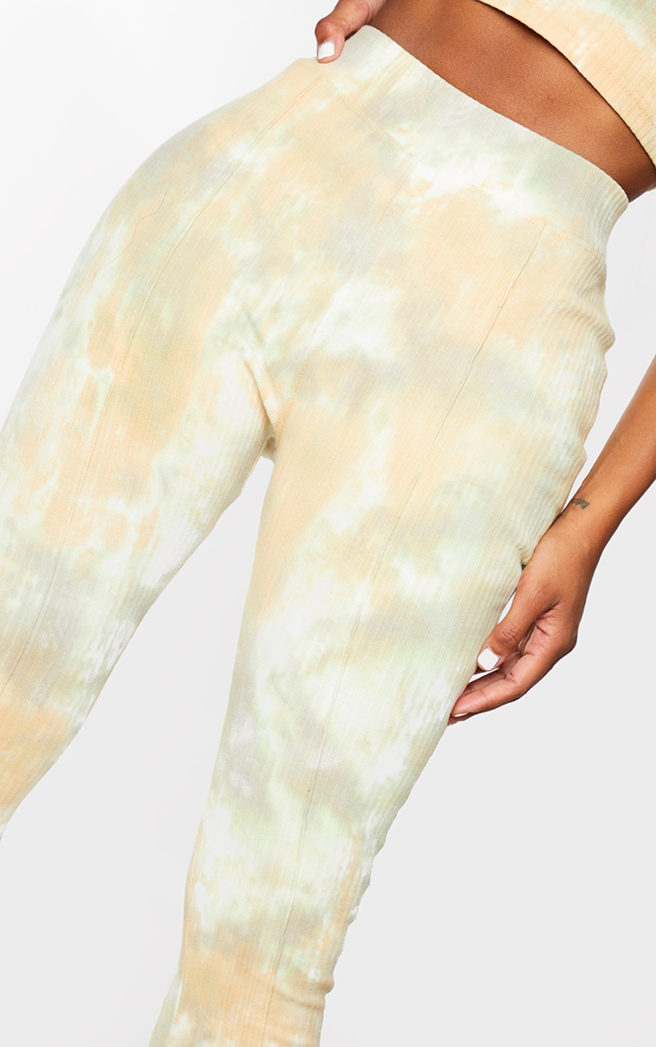 Shape Sage Green Tie Dye Thick Rib Leggings 4