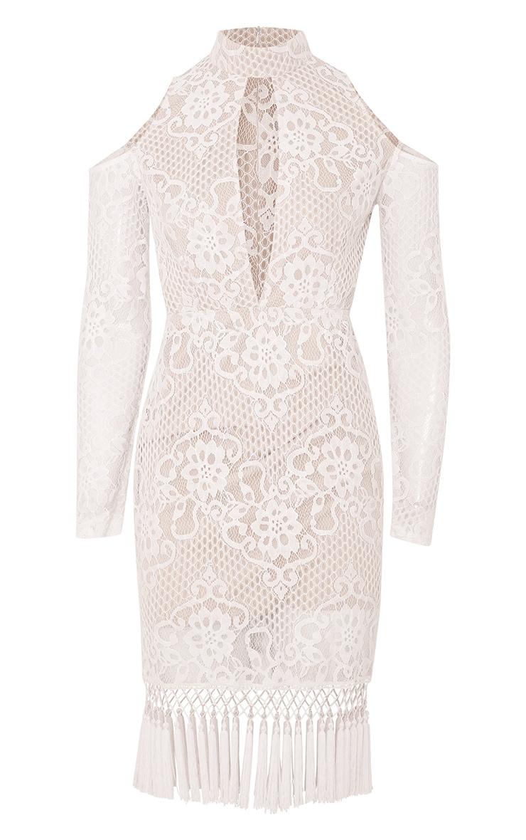 Krina Premium robe moulante blanche en dentelle à pompon 4