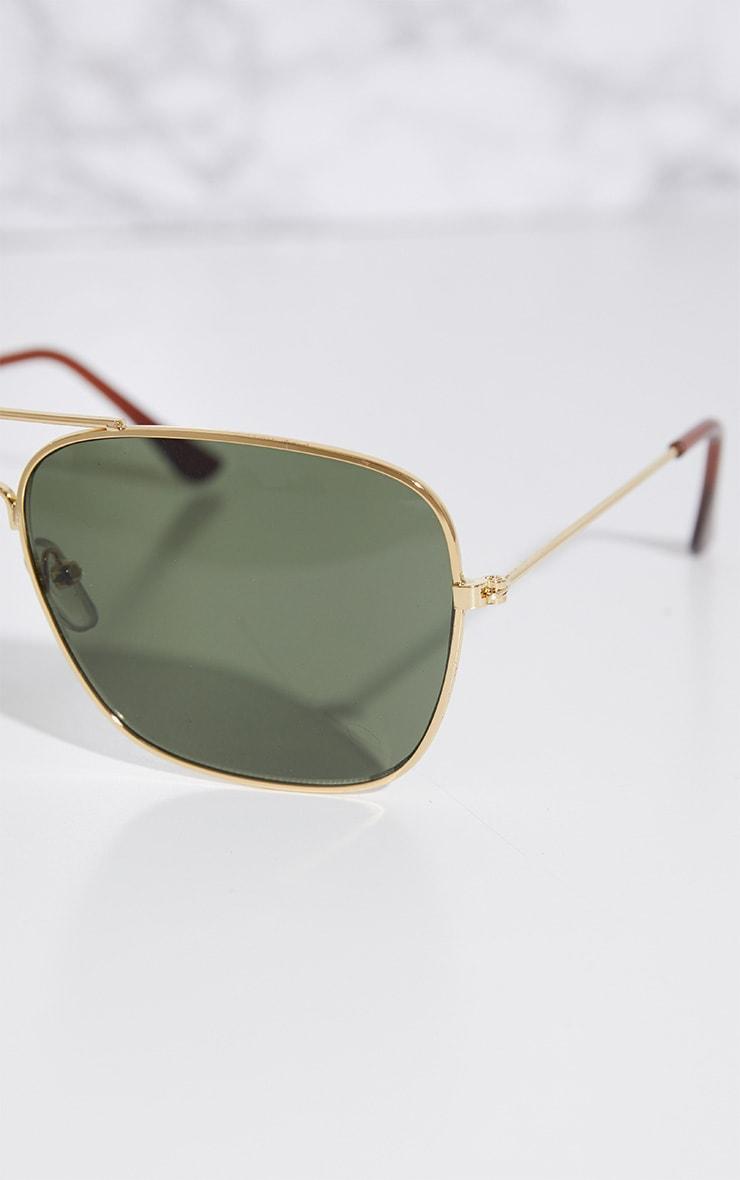 Gold Basic Square Metal Sunglasses 3