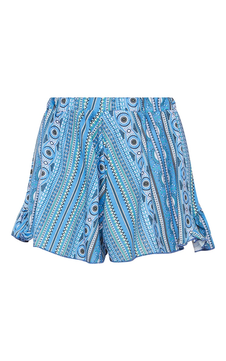 Blue Aztec Printed Frill Edge Floaty Shorts 6