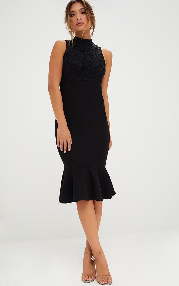 Black Lace Detail Fishtail Midi Dress 4