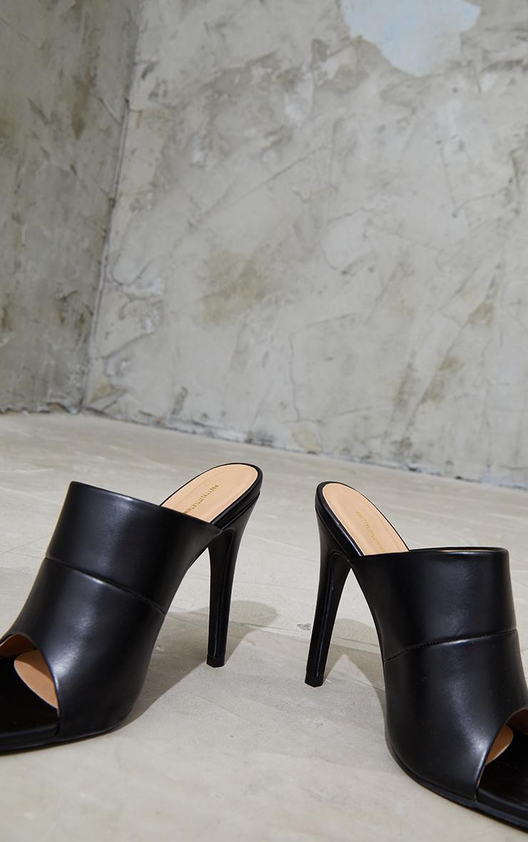 Black Square Toe High Mule Heels 4